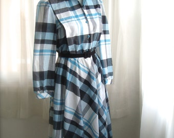 1980's Shirt Dress, Secretary Dress, In Teal and Black Plaid, Size Small