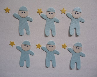 6 x Baby Boy Die Cuts with Stars Embellishments New Born Babies Boys Son Sons Scrapbooking