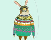 Rabbit with Balloon. rabbit wall art, illustration print, wall decor, kids art.