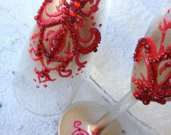 Hand decorated wedding champagne flutes in red and gold, Custom champagne glasses, Wedding reception ceremony