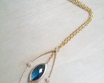 Gold Blue Necklace Blue sapphire Birthstone Necklace Bridesmaid Gift Marquise necklace cubic zirconia pendant Gift for her