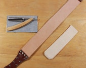 Maple wood straight razor kit with strop and travel pouch