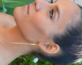 Gold filled chain earrings with Star dust beads, dangle drop earrings, long gold earrings, delicate minimalist jewelry, bridesmaid earrings