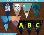 Star Wars Banner DIY Printable  - INSTANT DOWNLOAD - Retro Star Wars Inspired