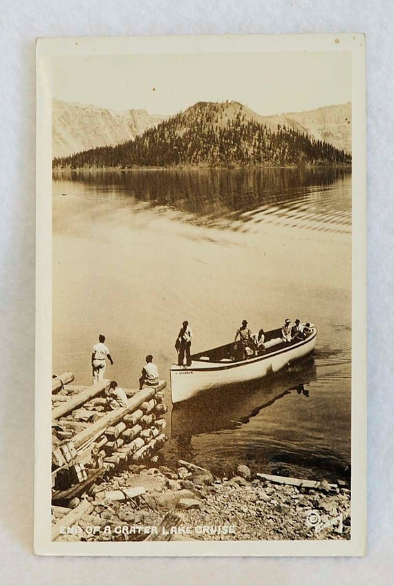 Rare Real Photo Postcard 1929:  CRATER LAKE CRUISE.. Ralph J Eddy Photograph R P P C