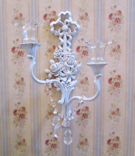 shabby chic wall sconce white rose barbola style crystals