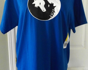30% OFF Yin Yang Symbol with Two Horse HeadsT-shirt- size L