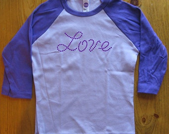 Valentines Day Childrens Tee - Love - Hearts - Girls or Boys Raglan Baseball Style 3/4 Length Long Sleeved  Kids Shirt - Gift Friendly