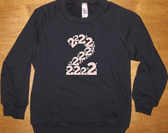 2nd Birthday Shirt for Girl or Boy - Colors - Number 2 - Second Birthday - Sweatshirt - Long Sleeved Shirt Navy Blue Fleece - Gift Friendly