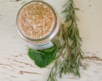 Mint + Rosemary Bathing Salts 12oz - Vegan - All-Natural - Organic - soothe - relax - detoxify