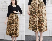 Vintage Velvety Floral Skirt with Slit in the Back Size Small Waist 26