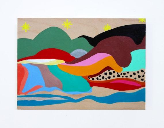 "Dream Mountain on wood original acrylic painting 5""x7"""