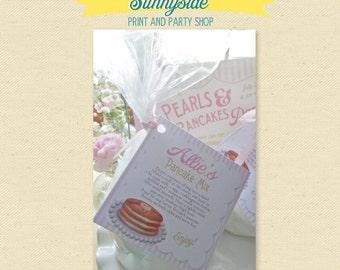 Pancake Birthday Favor Tag - Pancake Party Favor, Printable Favor with Pancake Mix Recipe