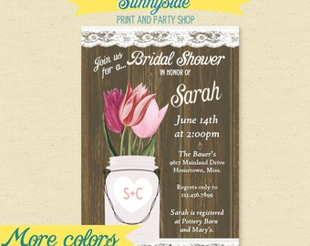 Tulip Bridal Shower Invitation - Rustic Jar Woodgrain Lace Printable Shower Invite / Invitation, Spring Tulips