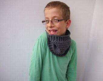 Crochet PATTERN basic cowl neckwarmer loop scarf child boy girl, DIY tutorial PDF Instant download