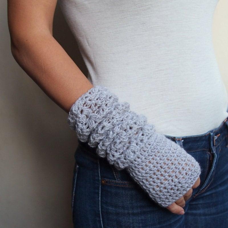 Pdf crochet pattern fingerless lace mittens gloves armwarmers lace