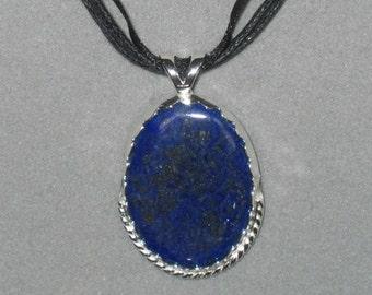 Rich Blue Lapis Lazuli Pendant, Sterling Silver