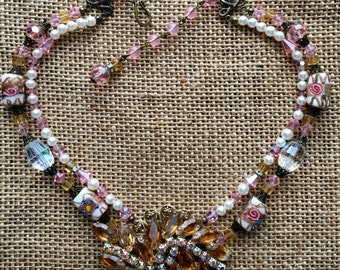 Handcrafted Vintage Beaded Statement Necklace with Vintage Brooch