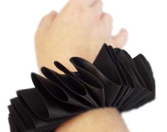 Black Satin Wrist Ruffs Ruffled Arm Bands Elizabethan Victorian Steampunk Tudor