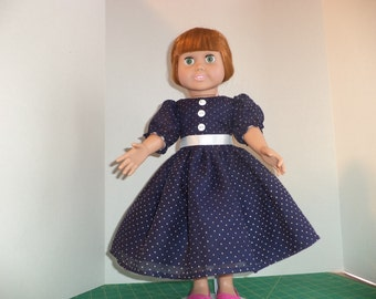 Navy Dotted Swiss Dress for 18 inch doll, Ready to Ship