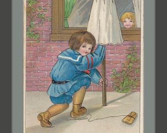 Halloween Prank- 1900s Antique Postcard- Old Art Card- All Hallow's Eve- Trick or Treat- Pumpkin Head Ghost- Edwardian Decor- Paper Ephemera