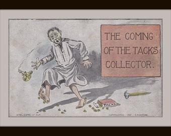The Coming of the Tacks Collector- 1900s Antique Postcard- Man in Nightshirt- Tax Season Comic- C. Eckstone- Artist Signed- Paper Ephemera