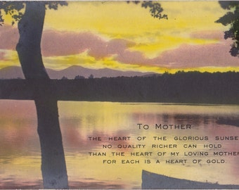To My Loving Mother- 1920s Antique Photograph- Mother's Day- Heart of Gold- Photo Card- Sunset Lake- Hand Tinted RPPC-  Paper Ephemera