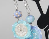 Asymmetrical Glass Lampworking Beaded Sterling Silver Earrings Cream Ivory Perwinkle Turquoise