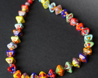 Multi-Color Bold Bright Colorful Lampworking Necklace Sterling Toggle