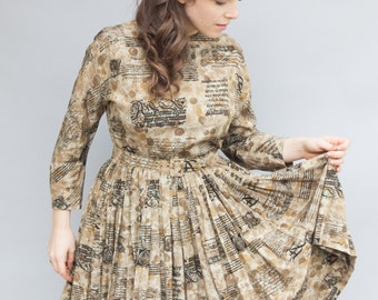 Vintage 1950's Dress - Soliloquy - Beautiful Fifties Silk Novelty Print Dress