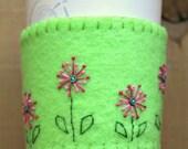 Lime Green Flower Garden Felt Cup Cozy