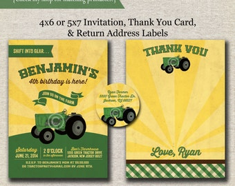 Tractor Invitation - Thank You Card - Return Address Label set - green and yellow | Vintage Green Tractor Party | Farm Birthday | printable