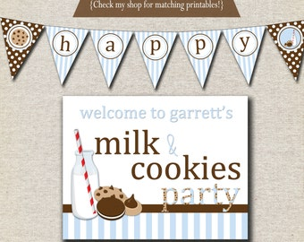 Milk & Cookies Birthday Party Kit - printable invitation, thank you card, banner, sign, party circles, favor tags, food drink labels