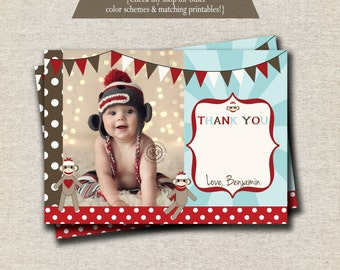 Sock Monkey Thank You Card, Vintage Sock Monkey Card, Sock Monkey Party Printables