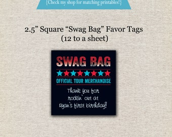 Rock Star Favor Tags - red blue   Rock Star Thank You Tags   Rock Star Swag Bag Gift Tags   Rock Star Party Printables