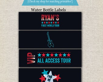 Rock Star Water Bottle Labels - red blue | Rock Star Drink Labels | Rock Star Water Bottle Wrappers | Rock Star Drink Wrappers | Printables