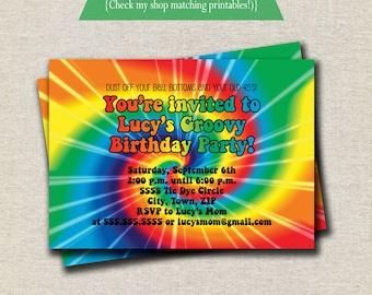 Rainbow Tie Dye Birthday Party Invitation, 60s, 70s, hippy, groovy, spin art, digital, printable