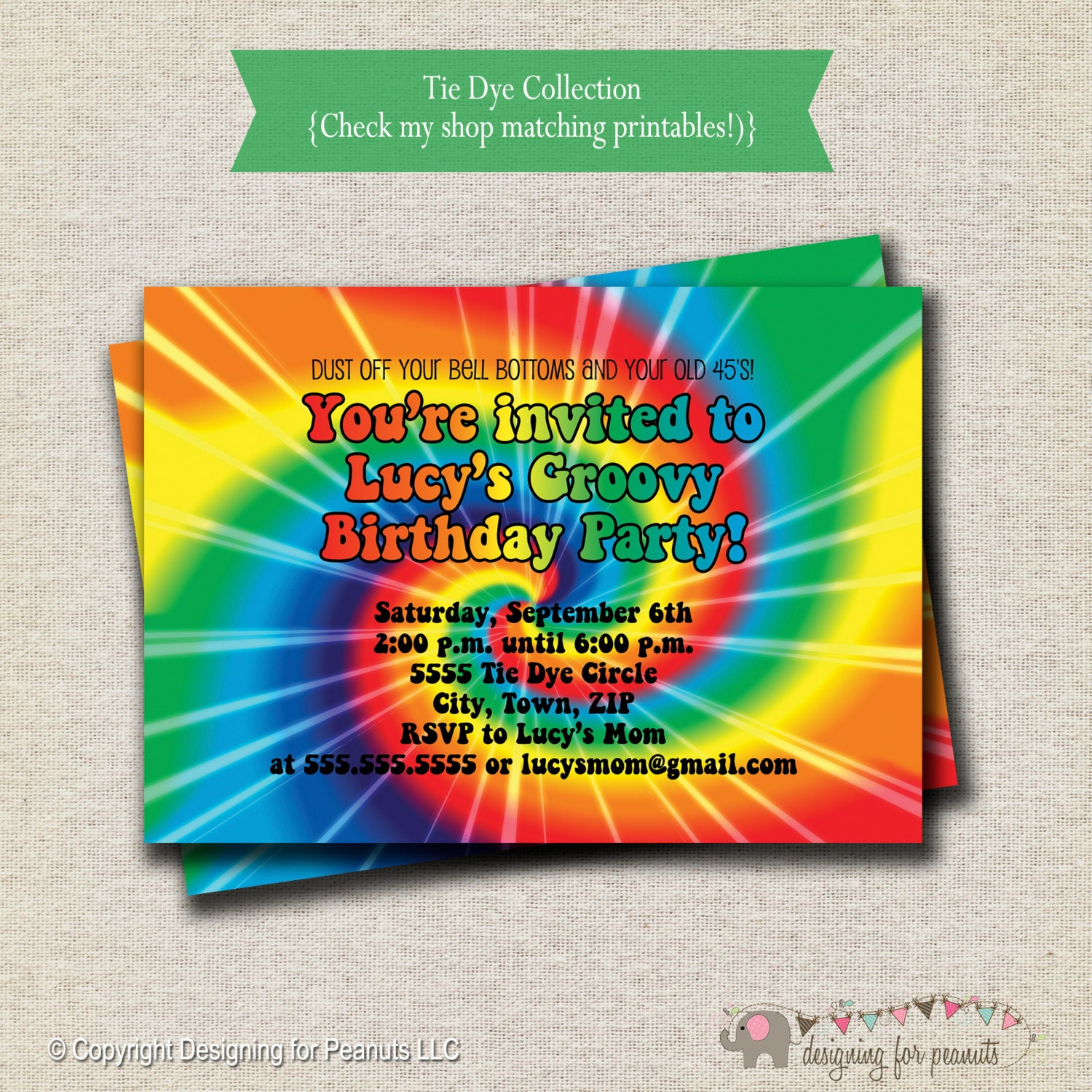 Rainbow Tie Dye Birthday Party Invitation 60s 70s hippy