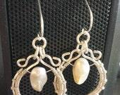 Sterling Wire Wrapped Baroque Pearl Loop Earrings