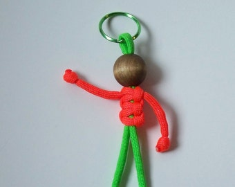 550 Paracord Person, Neon Orange and Lime Green, Geocaching Swag, Fun Key Fob, Birthday Swag, Stocking Stuffer