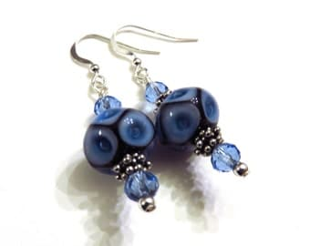 Blue Geometric Lampwork Earrings, Blue Earrings, Lampwork Jewelry, Blue Lampwork Earrings