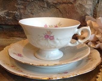 Vintage Wakbrzych Poland Teacup Saucer & Dessert Plate Tea Cup Set White and Pink Floral - #1625