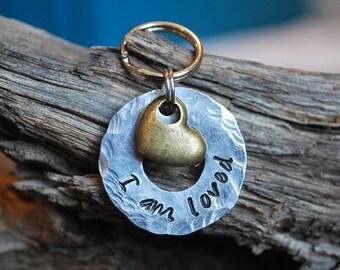 Pet ID Tag, Dog ID Tag, Dog Collar Charm, Dog Tag, Key Chain, Heart ID Tag, Personalized Dog Tag, Custom Dog Tag, I am loved tag