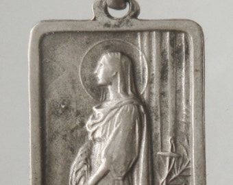 "Saint Philomena Vintage Religious Medal Pendanton 18"" sterling rolo chain"