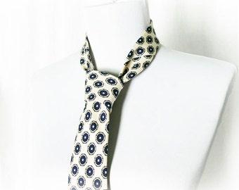 Vintage 60s Neck Tie Mod Edwardian Silk Medallion Print Cream Navy Necktie