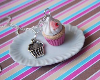 Pink Muffin Necklace (cupcake necklace valentine necklace pink necklace gift for her food miniature cupcake jewelry cupcake charm )