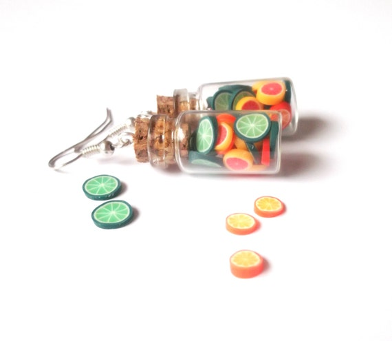 Citrus Bottle Earrings ( lime earrings polymer clay jewelry food earrings mini food jewelry green earrings orange earrings )
