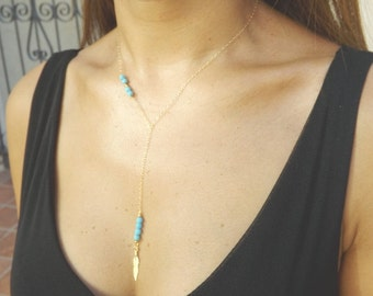 Turquoise and Gold Feather Necklace. Turquoise Jewelry.Feather Jewelry.Gold Filled Necklace.Gold Necklace.Tribal.Blue Jewelry.Blue Turquoise