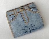 Blue Jeans Felt Needle Book,  Large Tri-Fold Needle Wrap Wallet,  Magnetic Closure,  Wool Felt