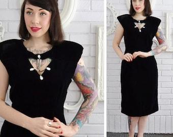Vintage Black Velvet Dress with Rhinestones by King Star Size Medium